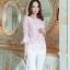เสื้อผ้าถักลายดอกไม้ สีชมพู แฟชั่นเกาหลี แขนยาวสี่ส่วน thumbnail 3