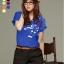 เสื้อยืดแฟชั่น แขนเบิ้ล ลาย New Music Note สีน้ำเงิน thumbnail 1