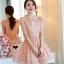 ชุดเดรสผ้าไหมแก้ว เนื้อเงามัน ปักด้วยด้ายลายดอกไม้ สีชมพูโอรส thumbnail 1