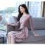 ชุดเดรสสั้น ผ้าโพลีเอสเตอร์ผสมสีกะปิ แขนยาวห้าส่วน ดีไซน์เก๋ที่กระโปรงด้านหน้า thumbnail 6