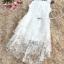 ชุดเดรสออกงาน ผ้าไหมแก้ว organza สีขาว ทอลายเส้นดอกไม้สีขาวเล็กๆ thumbnail 8