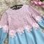 เสื้อตัวยาว หรือ มินิเดรสทรงเอ ตัวเสื้อผ้าลูกไม้สีชมพู เย็บต่อกับผ้ายีนส์ สีฟ้าอ่อน thumbnail 9