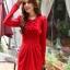 fashion ชุดทำงาน ชุดทํางานเกาหลี สีแดง คอแต่งระบาย แขนยาว กระโปรงสั้นเข้ารูป ซิปข้าง ซื้อเป็นของขวัญให้แฟนน่ารักดีครับ (พร้อมส่ง) thumbnail 4