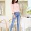 เสื้อผ้าคอตตอนผสม เนื้อนุ่มมาก สีชมพู ตัวเนื้อผ้าเป็นลายดอกไม้ แขนยาวสี่ส่วน thumbnail 4
