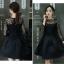 ชุดเดรสสีดำสั้น ตัวเสื้อผ้าถักโครเชต์ลายดอกไม้ แขนยาว thumbnail 5