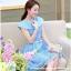 ชุดเดรส ชุดเดรสเจ้าหญิง แสนหวาน ตัวชุดผ้าลูกไม้สีฟ้า คอเสื้อเสื้อหยัก แต่งผ้าถ่วงคลุมไหล่และแขน สวยมากๆ thumbnail 7