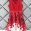 ชุดเดรสเกาหลี ผ้าโพลีเอสเตอร์สีแดง แขนกุด ช่วงเอว คาดด้วยผ้าริบบิ้นสีแดง thumbnail 7
