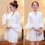 ชุดเดรสสวยๆ ผ้าคอตตอนทอ สีขาว แขนยาวห้าส่วน แขนเสื้อเก๋ ทรงกระดิ่ง thumbnail 3