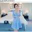 ชุดเดรสผ้าไหมแก้ว organza ปักด้วยด้ายลายดอกไม้ สีฟ้า สวยมากๆ thumbnail 1