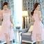 ชุดเดรสสวยๆ ผ้าไหมแก้ว organza เนื้อผ้าเงาวิ้ง ลายใบไม้สีชมพู สวยมากๆ thumbnail 5