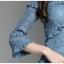 ชุดเดรสลูกไม้ ผ้าเนื้อดีสีฟ้าเข้ม แขนยาวสี่ส่วน เย็บแต่งที่หน้าอก และไหล่ตามแบบ thumbnail 12