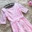 ชุดเดรสออกงาน ผ้าลูกไม้ปักสีชมพู แขนยาวสามส่วน เดรสเข้ารูปช่วงเอว thumbnail 8