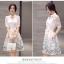 ชุดเดรสน่ารัก ตัวเสื้อผ้าไหมแก้ว organza สีขาวทอลายรูปร่มสีครีม และสีโอรส thumbnail 8