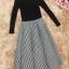 เสื้อผ้าแฟชั่นเกาหลี set เสื้อสีดำ และกระโปรงลายทางขาวดำ thumbnail 17
