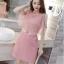 ชุดเดรสสวยๆ ผ้าคอตตอนฉลุลายตามแบบ สีชมพู ตัวเดรสด้านในแขนกุด thumbnail 1