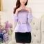 เสื้อผ้าลูกไม้ แฟชั่นเกาหลีมาใหม่ สีม่วง thumbnail 3