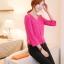 เสื้อแฟชั่น เสื้อเกาหลี เสื้อทำงาน คอวี ประดับกระดุมด้านหน้า3เม็ด กระเป๋าหน้า ผ้าชีฟอง เสื้อสีบานเย็น สวยมากๆ (พร้อมส่ง) thumbnail 2