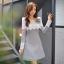 ชุดเดรสน่ารักๆ ผ้าคอตตอนผสมโพลีเอสเตอร์เนื้อนิ่มมากสีเทา ยืดหยุ่นได้ดี thumbnail 4