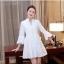 ชุดเดรสสวยๆ ผ้าคอตตอนทอ สีขาว แขนยาวห้าส่วน แขนเสื้อเก๋ ทรงกระดิ่ง thumbnail 6