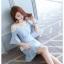 ชุดเดรสเกาหลี ผ้าโพลีเอสเตอร์ผสมสีฟ้า สายเดี่ยว เปิดไหล่ thumbnail 4