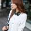เสื้อทำงาน เสื้อเกาหลี เสื้อแขนยาว ปกและปลายแขนสีดำจุดสีขาว กระดุมหน้า ผ้าชีฟอง สีขาว สวยมากๆ (พร้อมส่ง) thumbnail 1