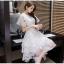 ชุดเดรสสวยๆ ผ้าไหมแก้ว organza สีขาว ทอลายเส้นดอกไม้สีขาวเล็กๆ thumbnail 8