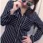 เสื้อแฟชั่น สุด Chic เสื้อเชิ้ต แขนยาว ลายทาง รหัส SU9014_1 thumbnail 1