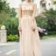 ชุดเดรสยาว ตัวเสื้อผ้าลูกไม้ สีครีม ปักด้วยด้ายสีเหลือบทอง thumbnail 1