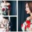 ชุดเดรสสั้น ผ้าคอตตอนผสม spandex เนื้อนุ่มมากพื้นสีขาว ลายดอกกุหลาบสีแดง thumbnail 5
