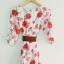 fashion ชุดทำงาน ชุดเดรสทำงาน แฟชั่นเกาหลี ลายดอกไม้ สีแดง ผ้าชีฟอง แถมเข็มขัดสีน้ำตาล (พร้อมส่ง) thumbnail 6