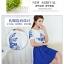 ชุดเดรสสั้น ผ้าชีฟอง เนื้อดีสีขาว ปักลายดอกไม้ที่หน้าอกและแขนเสื้อสีน้ำเงิน คอและปลายแขนเสื้อจั๊ม thumbnail 6