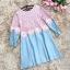 เสื้อตัวยาว หรือ มินิเดรสทรงเอ ตัวเสื้อผ้าลูกไม้สีชมพู เย็บต่อกับผ้ายีนส์ สีฟ้าอ่อน thumbnail 8