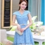 ชุดเดรส ชุดเดรสเจ้าหญิง แสนหวาน ตัวชุดผ้าลูกไม้สีฟ้า คอเสื้อเสื้อหยัก แต่งผ้าถ่วงคลุมไหล่และแขน สวยมากๆ thumbnail 4