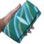 กระเป๋าสตางค์ปลากระเบน แบบ 3 พับ เม็ดใหญ่ ลาย คลื่นน้ำ สีเขียวน้ำทะเล สุดเท่ห์ ในสไตน์ของคุณ Line id : 0853457150 thumbnail 2