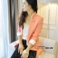 เสื้อสูทเกาหลี Rui Ri เสื้อสูทผ้าคอตตอนผสม เนื้อดีสีชมพู ปกเสื้อ และปลายแขนเสื้อเย็บผสมกับผ้าสีขาว พร้อมส่ง thumbnail 1