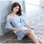 ชุดเดรสเกาหลี ผ้าโพลีเอสเตอร์ผสมสีฟ้า สายเดี่ยว เปิดไหล่ thumbnail 3