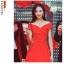 ชุดเดรสสีแดง ผ้าโพลีเอสเตอร์ผสม ไหล่ป้าน ปิดช่วงต้นแขน เข้ารูปช่วงเอว thumbnail 2