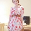 fashion ชุดทำงาน ชุดเดรสทำงาน แฟชั่นเกาหลี ลายดอกไม้ สีแดง ผ้าชีฟอง แถมเข็มขัดสีน้ำตาล (พร้อมส่ง) thumbnail 1