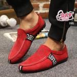 รองเท้าผ้าแฟชั่นผู้ชาย สไตล์ Versace (สีแดง)