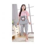 ชุดนอนคนท้อง เสื้อและกางเกง ลายหัวใจรูปหน้าแมว - PJ0006