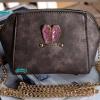 พร้อมส่ง KB-628-2 สีเทาเหลือบเงิน กระเป๋าสะพายไซร์มินิน่ารักสายสะพายโซ่แต่งอะไหล่ Glitter-rabbit หนังช้าง เนื้อสวยมาก