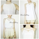 "FINAL SALE ABOUT 50% ""GROOVING HIGH-NECKLINE TOP"" > White"