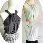 FINAL SALE 40% CROSS-OVER  LOOSED TOP WITH  NECK BUTTON STRAP  ( 3 Colors)