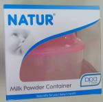 กระปุกแบ่งนม Natur 3 ช่องแบบหมุนฝาเกลียว BPA FREE สีชมพู