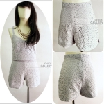FINAL SALE 50% GREY LACE HIGH WAIST SHORTS