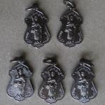 หลวงพ่อทวด วัดพะโคะ ปี41 สงขลา เนื้อทองแดงรมดำ 5 เหรียญ