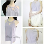 "FINAL SALE ABOUT 50% ""GROOVING HIGH-NECKLINE TOP"" > Purple"