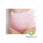 กางเกงในคนท้องลายผ้าย่นยืดหยุ่น สีชมพู