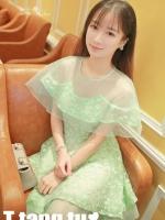 ชุดเดรสเจ้าหญิง ผ้าไหมแก้ว สีเขียว ปักลายดอกไม้สีเขียว