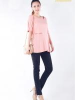CN083(จีน)เสื้อคลุมท้องให้นมแหวกใต้แขนเสื้อ ผ้ายืดเนื้อดี นิ่ม ลื่น ยืดได้เยอะ ทรงสวย เป็นเสื้อกล้ามซ้อนอยู่ด้านใน ท้องไม่ท้องใส่ได้คุณภาพเกินราคา สีชมพู